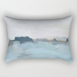 Navy & Baby Blue Abstract Nature Art Painting Rectangular Pillow