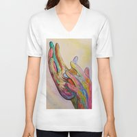 jesus V-neck T-shirts featuring JESUS by EloiseArt