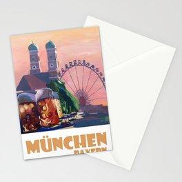 Munich Bavaria Germany Retro Travel  Poster Stationery Cards