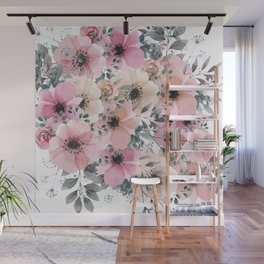 Pink and Peach Watercolor Flowers Wall Mural