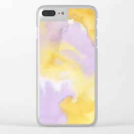 Lilac lavender sunflower yellow abstract watercolor Clear iPhone Case