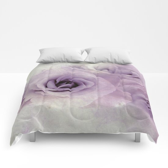 wet purple rose Comforters