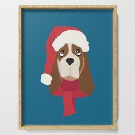 Basset Hound Christmas Dog Serving Tray