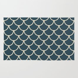 Dark Blue & Beige Fish Scales Pattern Rug