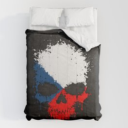 Flag of Czech Republic on a Chaotic Splatter Skull Comforters