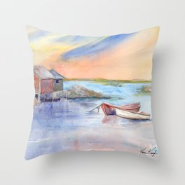 Maine Coast with Boats Throw Pillow