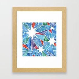Multicolor Geometric Crystal Stars in Watercolor Shapes Framed Art Print