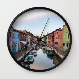 Burano Italy Photography, Colorful House, Veneto, Sunset in Italy, Travel Wall Art Wall Clock