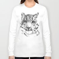 snow leopard Long Sleeve T-shirts featuring Snow leopard by RekaFodor