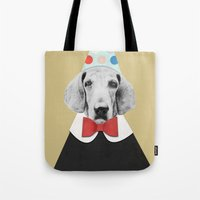 pooh Tote Bags featuring Doggy Pooh the Clown by cafelab