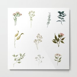 Delicate Floral Pieces Metal Print