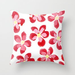 Posey Power - Red Multi Throw Pillow