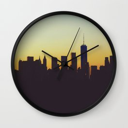 Sunrise in New York City Silhouette (Color) Wall Clock