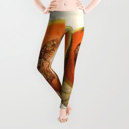 Vintage Vector Style Thanksgiving Pumpkin Slices Leggings