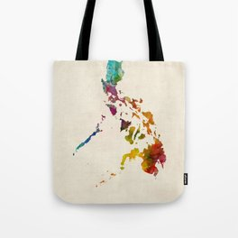 Philippines Watercolor Map Tote Bag