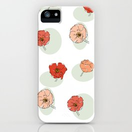 Poppy Flower Stem on Green Oval iPhone Case