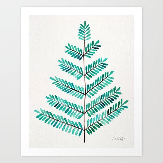 Turquoise Leaflets Art Print