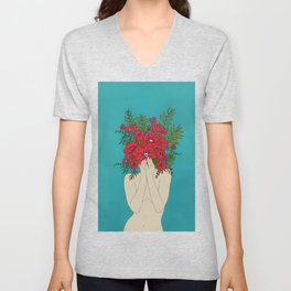 Blooming Red Unisex V-Neck