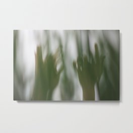 Human body parts hands wrists fingers in nature forest green plants trees dance dancing movement Metal Print