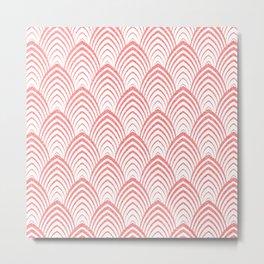 Pink & White Art-deco Pattern Metal Print