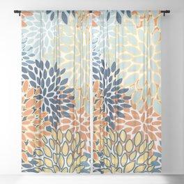 Modern, Floral Prints, Orange, Blue, Yellow Sheer Curtain