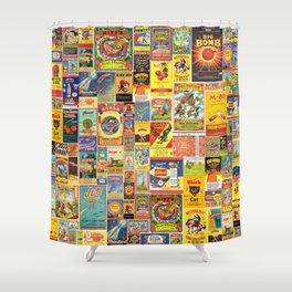 Vintage Fireworks & Firecracker Graphic pattern Shower Curtain