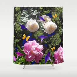 WHITE ROSES PINK  PEONIES BUTTERFLY GARDEN ART Shower Curtain