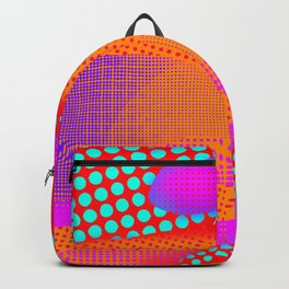 Red Orange Blue Purple Halftone Sea Backpack
