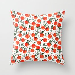 Bright colored watercolor orange harvest art illustration Throw Pillow