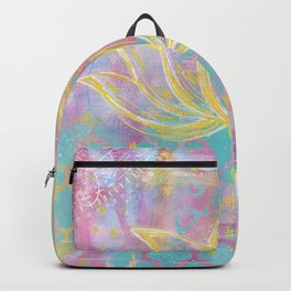 Layered Gold Lotus Painting Backpack