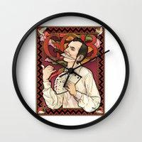 nouveau Wall Clocks featuring GOB Nouveau by castlepöp