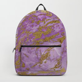 Gold Glitter and Ultra Violet Marble Agate Backpack