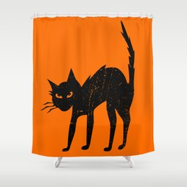 Vintage Halloween Scary Black Cat Shower Curtain