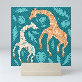 Giraffes in Teal + Peach Mini Art Print