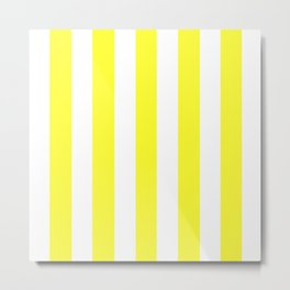 Yellow (RYB) - solid color - white vertical lines pattern Metal Print