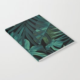 Tropical Jungle Night Leaves Pattern #1 #tropical #decor #art #society6 Notebook