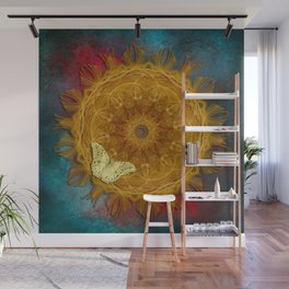 Magical fire mandala and gold butterfly Wall Mural