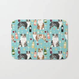 Australian Shepherd blue and red merle wine cocktails yappy hour pattern dog breed Bath Mat