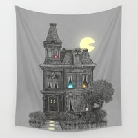 man Wall Tapestries featuring Haunted by the 80's by Terry Fan