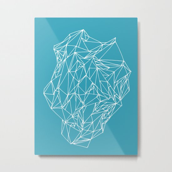 Geometric pattern 01 minimalistic triangles white on teal Metal Print