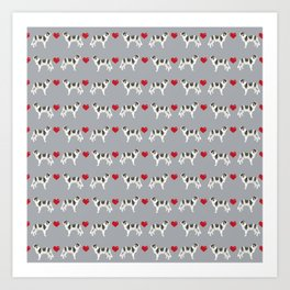Border Collie love hearts dog breed gifts collies herding dogs pet friendly Art Print