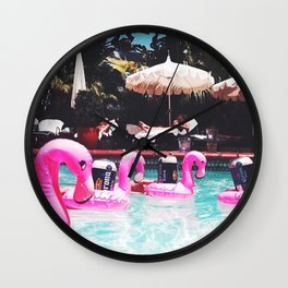 Flamingo Beer Races at the Chateau Marmont Wall Clock