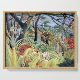 Tiger in a Tropical Storm (Surprised!) by Henri Rousseau 1891 // Jungle Rain Stormy Weather Scene Serving Tray