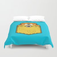 pocket fuel Duvet Covers featuring Pocket Tiger by Steven Toang