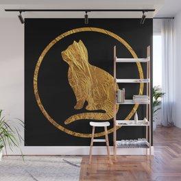 Golden cat silhouette B-I Wall Mural