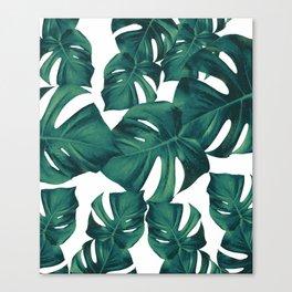 Monstera Leaves Pattern #3 #tropical #decor #art #society6 Canvas Print