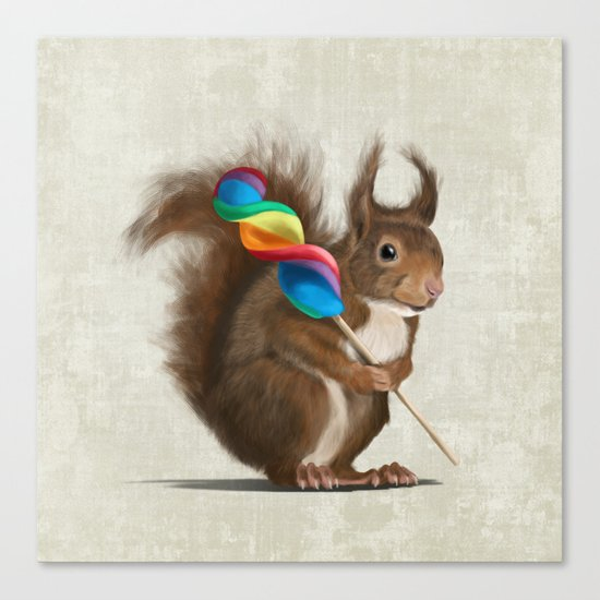 Squirrel with lollipop Canvas Print