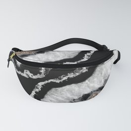 Gray Black White Agate Glitter Glamor #8 #gem #decor #art #society6 Fanny Pack