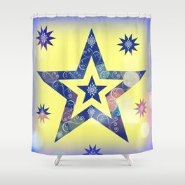 Blue Star on Yellow Shower Curtain