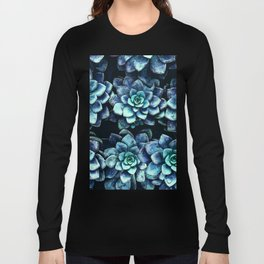 Blue And Green Succulent Plants Long Sleeve T-shirt